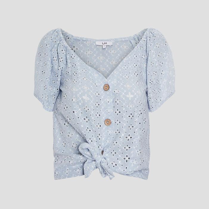 Chemise manches courtes femme bleu ciel