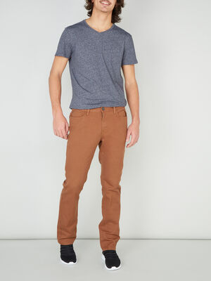 Pantalon regular coton uni marron clair homme