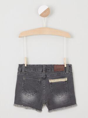 Short en jean effiloche noir fille