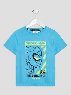 T shirt Spider Man bleu turquoise garcon