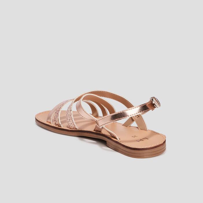 Sandales plates fille rose