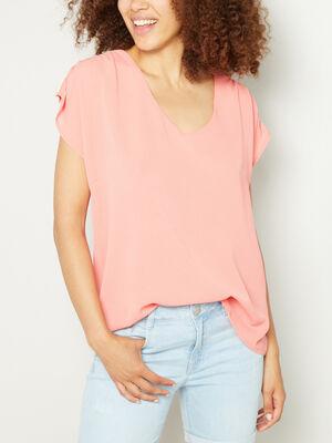 T shirt col V uni orange corail femme