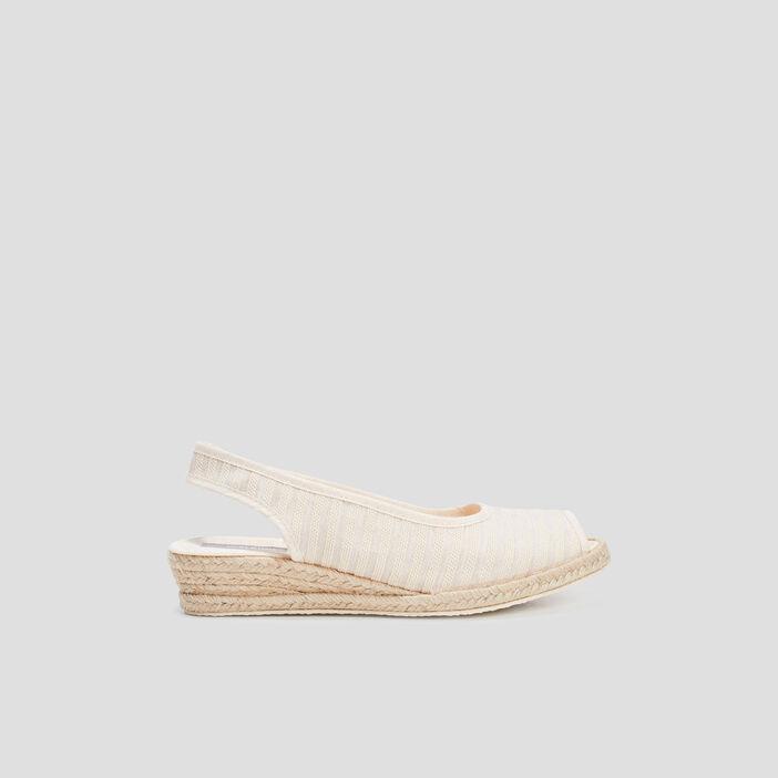 Sandales compensées femme beige