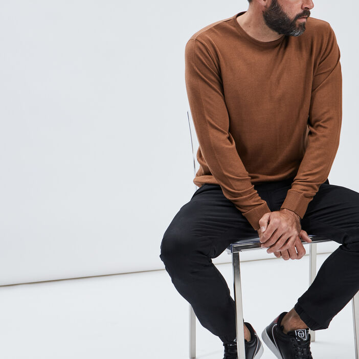 Pull avec col rond homme camel
