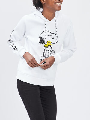 Sweat a capuche Snoopy blanc femme