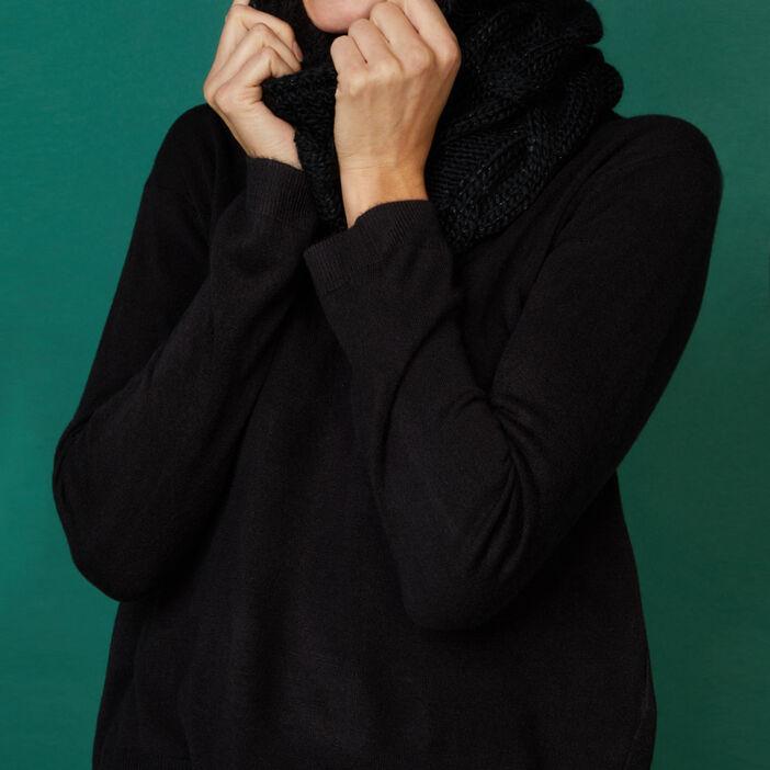 Snood avec torsades femme noir