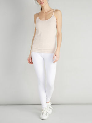 Legging long uni blanc femme