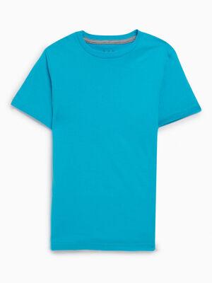 T shirt coupe droite en coton bleu turquoise garcon