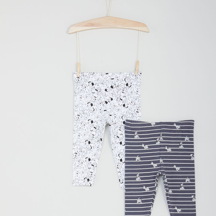 Lot 2 leggings 101 Dalmatiens bébé fille multicolore