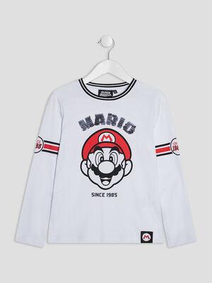 T shirt manches longues Mario blanc garcon