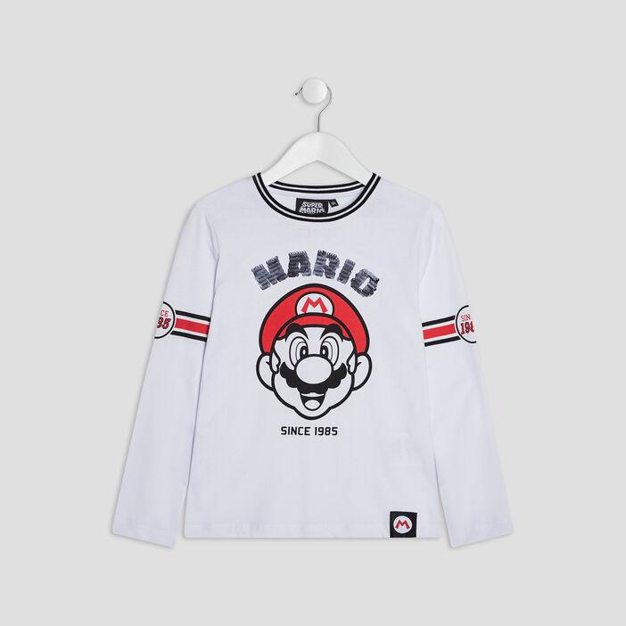 T-shirt manches longues Mario garçon blanc