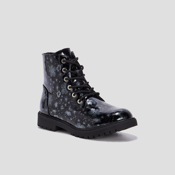 Boots vernies imprimé fleurs fille noir