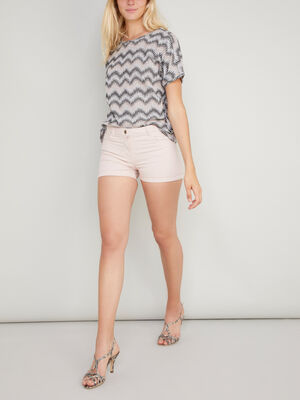 Short uni taille basse rose clair femme