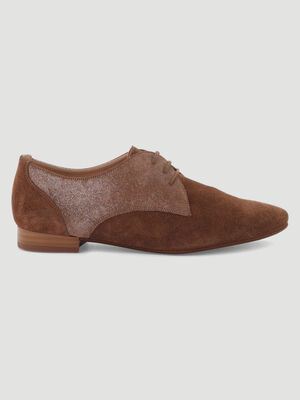 Derbies suedes et pailletes marron femme