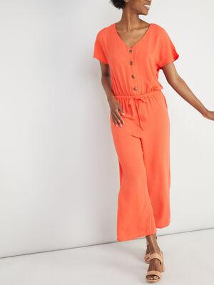 Combinaison pantalon unie taille elastiq rouge femme