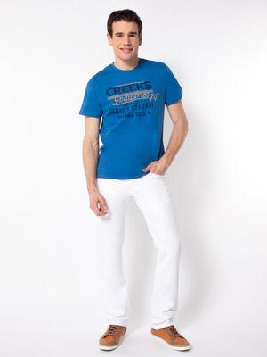 Pantalon regular coton uni blanc homme