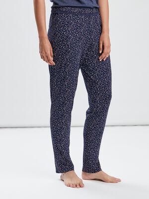 Pantalon de nuit bleu marine femme