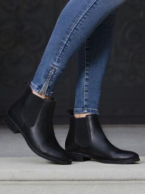 bottines chelsea en cuir noir femme