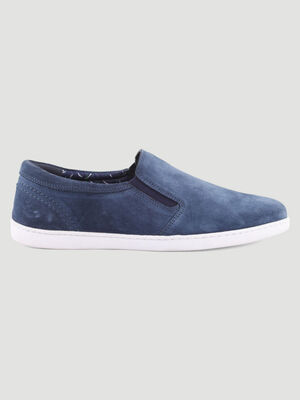 Loafers en cuir uni bleu homme