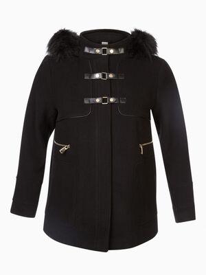 Manteau evase avec similicuir noir femme