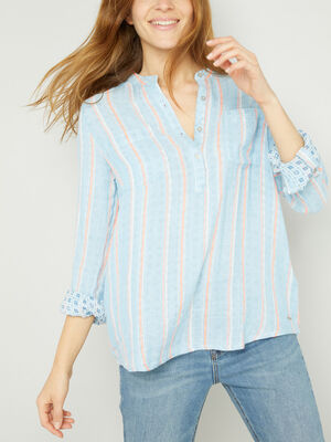 Chemise rayures verticales grossesse bleu femme