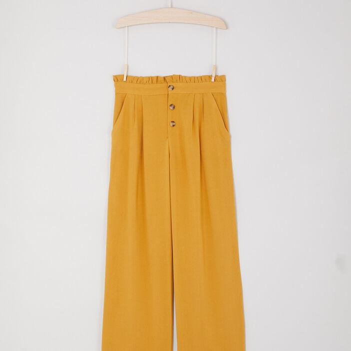 Pantalon fluide évasé à boutons fille jaune moutarde
