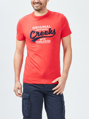 T shirt manches courtes Creeks rouge homme