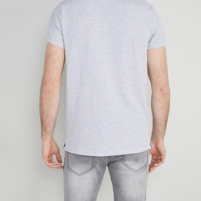 Polo uni manches courtes homme gris