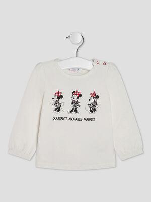 T shirt manches longues Minnie ecru bebef