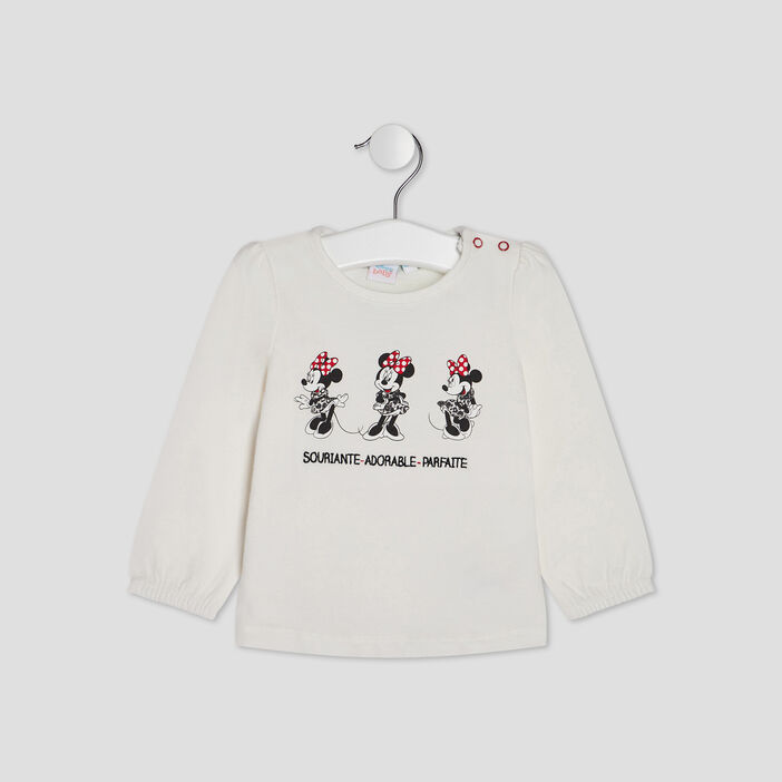 T-shirt manches longues Minnie bébé fille ecru