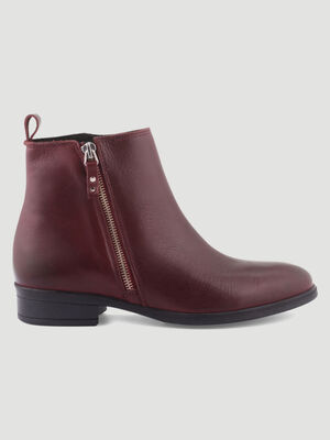 Bottines plates zippees bordeaux femme