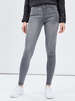 Jeans skinny 5 poches gris fonce femme
