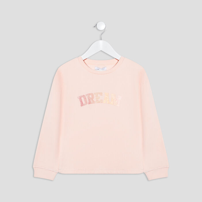 Sweat manches longues fille rose