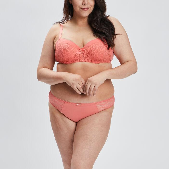 Soutien-gorge emboîtant femme grande taille orange corail