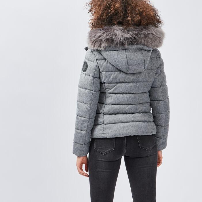 Doudoune droite à capuche femme gris