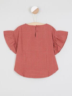 Chemise carreaux brodee noeud devant orange fonce fille
