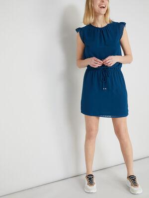 Robe avec manches courtes volantees bleu canard femme