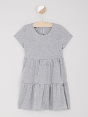 Robe patineuse unie a volants gris fille