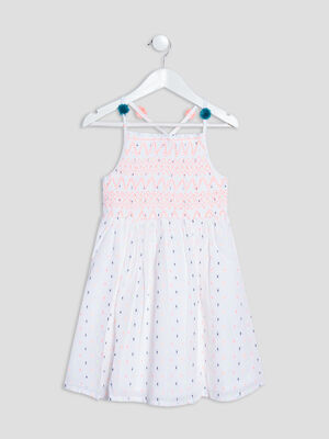 Robe evasee a pompons blanc fille