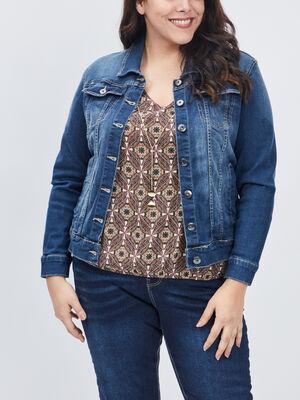 Blouson en jean grande taille denim stone femmegt