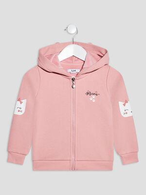 Gilet zippe a capuche rose pastel fille