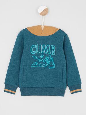 Sweatshirt imprime capuche contrastee bleu canard garcon