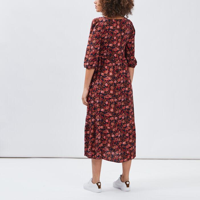 Robe longue évasée femme rose