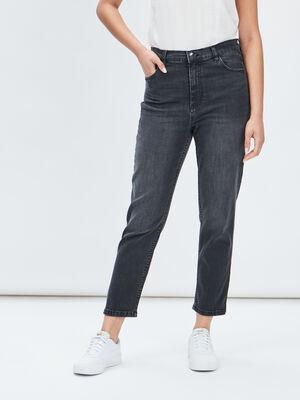 Jeans mom taille haute denim snow noir femme