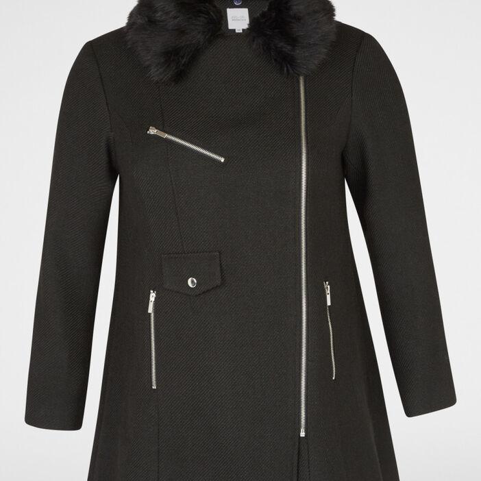 manteau fourrure synthétique femme grande taille noir