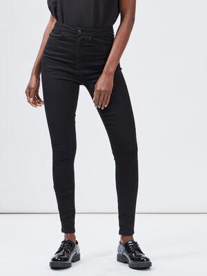 Jeans skinny taille haute noir femme