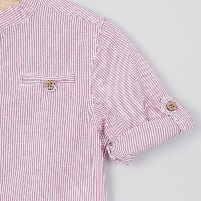 Chemise rayée col mao garçon rouge