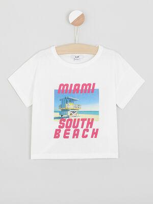 T shirt imprime plage ecru fille