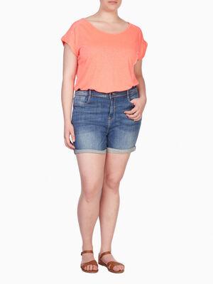 Short en jean grande taille denim stone femme