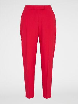 Pantalon cigarette uni rouge femme